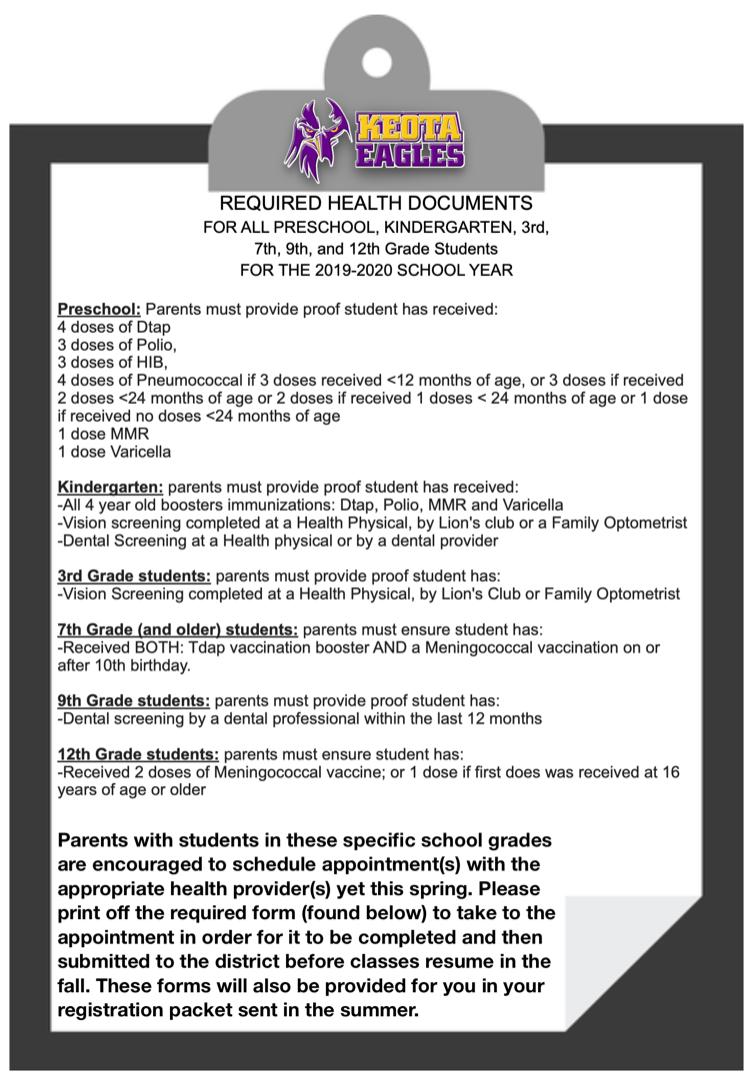 Calendrier Vaccinal 2020 Has.Keota Csd Nurse Health Information